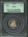 Proof Seated Quarters: , 1882 25C PR65 PCGS. The obverse has bright golden-brown ...