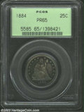 Proof Seated Quarters: , 1884 25C PR65 PCGS. Rich powder-blue and rose-gold patina....