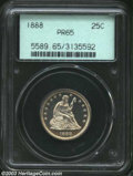 Proof Seated Quarters: , 1888 25C PR65 PCGS. Light gold patina does not hide the ...