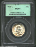 Washington Quarters: , 1935-D 25C MS66 PCGS. Both sides shimmer with fulsome ...
