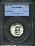Washington Quarters: , 1942-D 25C MS67 PCGS. One of only 24 examples so graded ...