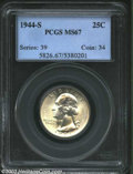 Washington Quarters: , 1944-S 25C MS67 PCGS. This golden tinged Superb Gem is ...