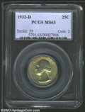 Washington Quarters: , 1932-D 25C MS63 PCGS. The surfaces of this somewhat ...