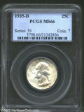 Washington Quarters: , 1935-D 25C MS66 PCGS. The milky yellow-green patina is ...