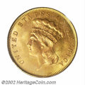 Three Dollar Gold Pieces: , 1862 $3 MS64 PCGS. Only 5,750 pieces were struck of the ...