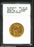 Early Half Eagles: , 1806 $5 Round Top 6, 7x6 Stars--Plugged, Repaired, Tooled--...