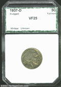 Additional Certified Coins: , 1937-D 5C Three-Legged Nickel VF25 PCI (VF25 Reverse ...