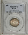 Coins of Hawaii: , 1883 25C Hawaii Quarter MS65 PCGS. Mottled golden-brown andnavy-blue endow this lustrous and intricately struck example. N...