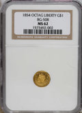 California Fractional Gold: , 1854 $1 Liberty Octagonal 1 Dollar, BG-508, High R.4, MS62 NGC. Anicely mirrored example that apparently just missed a Pro...