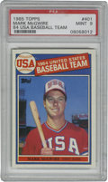 Baseball Cards:Singles (1970-Now), 1985 Topps Mark McGwire '84 USA Baseball Team #401 PSA Mint 9. On his '85 Topps issue rookie card, McGwire is highlighted f...