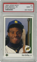 Baseball Cards:Singles (1970-Now), 1989 Upper Deck Ken Griffey, Jr. Star Rookie #1 PSA Mint 9. Debutcard from Upper Deck's groundbreaking first issue feature...