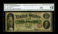 "Fr. 61 $5 1862 Legal Tender CGA Fine 12 Restored. From our 2006 Central States sale where it was described, ""There..."