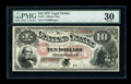 Large Size:Legal Tender Notes, Fr. 97 $10 1875 Legal Tender PMG Very Fine 30. Fewer than a dozenFr. 97's are known, and there is not a single uncirculated...