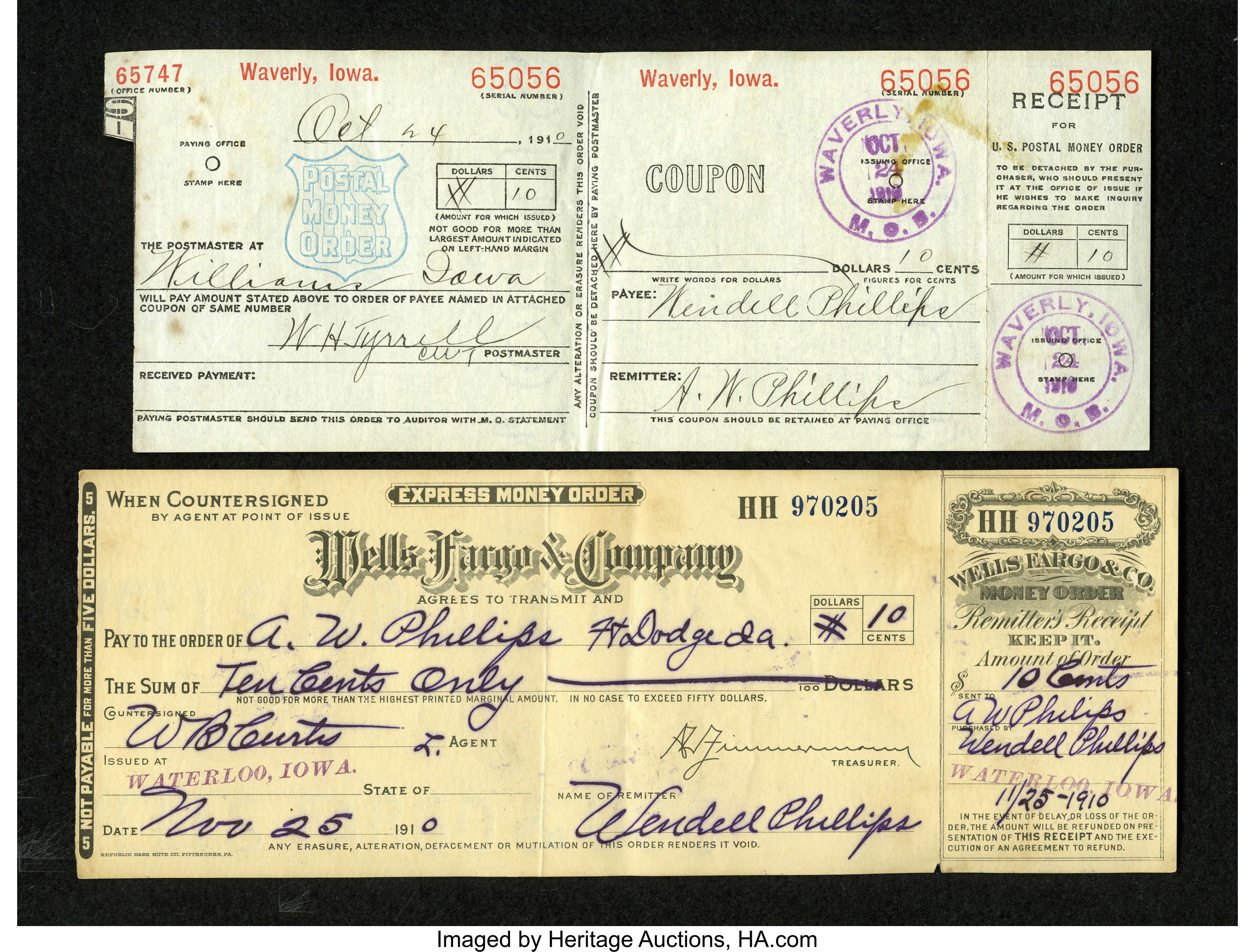 10 Money Order Collection Collector Arthur Phillips Set About To Lot 21046 Heritage Auctions