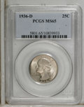 Washington Quarters: , 1936-D 25C MS65 PCGS. This lower mintage Gem has dappled sea-greenand russet toning here and there, although the fields an...