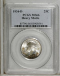 Washington Quarters: , 1934-D 25C Heavy Motto MS66 PCGS. Deep apple-green and cherry-redembrace the borders, with dashes of yellow-gold here and ...