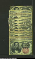 Fractional Currency:Fifth Issue, Twenty-One Note Lot of Fifth Issue 10c, Fr-1265, VF. This is ...