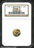 Commemorative Gold: , 1915-S Panama-Pacific Gold Dollar MS60 NGC. ...