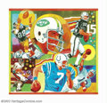 Original Illustration Art:Mainstream Illustration, George Guzzi - Original Illustration Art (c.1975). An outstandingpro football collage featuring #12 for the New York Jets, ...