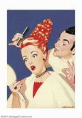"Original Illustration Art:Mainstream Illustration, Dal Holcomb - Original Magazine Cover Art (1942). This Holcombimage, titled ""New Hairdo,"" appeared as the cover for the Kin..."