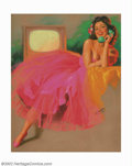 "Original Illustration Art:Pin-up and Glamour Art, Earl Steffa Moran (1893-1984) Original Pin-up Painting (c.1953).This is one of the rare ""Steffa"" images that Earl Moran cre..."