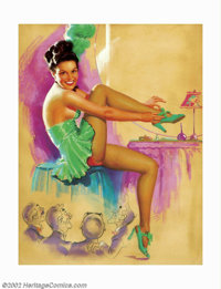 K. O. Munson - Original Pin-up Art (1940-1950). A unique pin-up image by K. O. Munson, with the four men appearing as an...