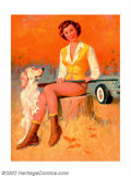 Original Illustration Art:Mainstream Illustration, Mayo Olmstead - Original Calendar and Advertising Pin-up (c.1950).Mayo Olmstead was a contemporary of Gil Elvgren, and was ...