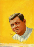 Original Illustration Art:Pulp, Pulp-like, Digests and Paperback Art, Greg Theakston - Original Magazine Cover Art (1991). This beautifulportrait of Babe Ruth was utilized as the cover to Spo... (Total: 2items Item)