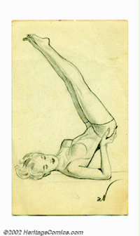 """Alberto Vargas (1896-1983) Original Pin-up Sketch (1950). This rare sketch for the """"Ace of Clubs"""" was created..."""