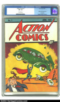 Golden Age (1938-1955):Superhero, Action Comics #1 (DC, 1938) CGC FN- 5.5 Off-white pages. More than a comic book, more than a superhero, this is a true piece...