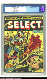 All Select Comics #1 (Timely, 1943) CGC VF- 7.5 Off-white to white pages. This quintessential Timely title enjoyed an au...