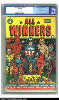 Golden Age (1938-1955):Superhero, All Winners Comics #4 Chicago pedigree (Timely, 1942) CGC NM- 9.2 Off-white pages. A classic war cover by Al Avison is the h...