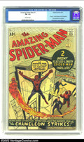 Silver Age (1956-1969):Superhero, Amazing Spider-Man #1 (Marvel, 1963) CGC FN- 5.5 Off-white pages.This second-greatest Spider-Man book (after Amazing Fant...