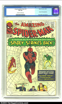 """Amazing Spider-Man #19 (Marvel, 1964) CGC VF 8.0 Off-white to white pages. Spider-Man prepares to """"Strike Back""""..."""