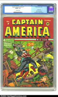 Captain America Comics #7 (Timely, 1941) CGC FN/VF 7.0 Off-white pages. A classic cover by Simon and Kirby is preserved...