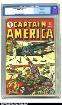 Captain America Comics #36 Pennsylvania pedigree (Timely, 1944) CGC VF/NM 9.0 Off-white pages. Syd Shores' classic cover...