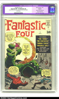 Fantastic Four #1 (Marvel, 1961) CGC Apparent FN- 5.5 Extensive (A) Off-white pages. This, the premiere issue of the Fan...