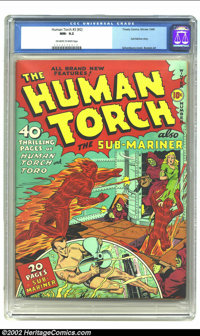 The Human Torch #3 (#2) (Timely, 1940) CGC NM- 9.2 Off-white to white pages. Sensational copy of this early issue; in fa...