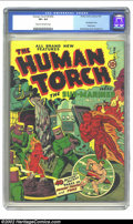Golden Age (1938-1955):Superhero, The Human Torch #4 (#3) (Timely, 1941) CGC VF+ 8.5 Cream to off-white pages. Alex Schomburg's fertile mind never seemed to r...