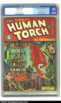 Golden Age (1938-1955):Superhero, The Human Torch #6 (Timely, 1942) CGC FN+ 6.5 Cream to off-white pages. Alex Schomburg breaks out the hooded baddies, bondag...