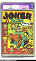 "Golden Age (1938-1955):Humor, Joker Comics #1 (Timely, 1942) CGC Apparent VF- 7.5 Slight (P) White pages. Overstreet ""rare"" and Gerber ""scarce"", this book..."