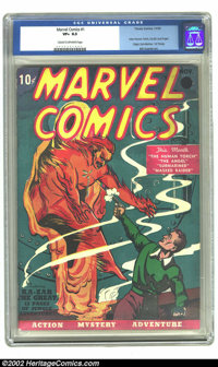 Marvel Comics #1 (Timely, 1939) CGC VF+ 8.5 Cream to off-white pages. Publisher Martin Goodman rolled the dice on the ne...