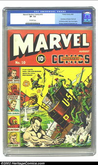 Marvel Mystery Comics #10 (Timely, 1940) CGC VF- 7.5 Off-white pages. Alex Schomburg resumes cover duties and has the Su...