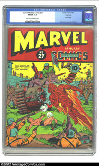 Marvel Mystery Comics #27 Rockford pedigree (Timely, 1942) CGC FN/VF 7.0 Light tan to off-white pages. CGC has certified...