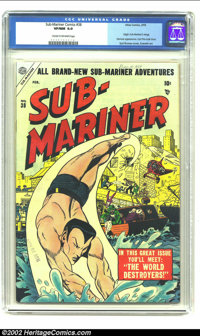 Sub-Mariner Comics #38 (Timely, 1955) CGC VF/NM 9.0 Cream to off-white pages. Syd Shores becomes the fourth cover artist...
