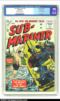Sub-Mariner Comics #40 Double Cover (Timely, 1955) CGC NM 9.4 Cream to off-white pages. Two rarities here: 1) finding a...