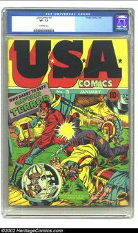 U.S.A. Comics #3 (Timely, 1941) CGC VF- 7.5 Off-white pages. The Photo-Journal Guide to Comic Books gives Jack Kirby cre...