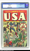 "Golden Age (1938-1955):Superhero, U.S.A. Comics #17 ""D"" Copy pedigree (Timely, 1945) CGC NM 9.4 Off-white to white pages. The good Captain gets a little rambu..."