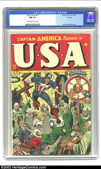 """U.S.A. Comics #17 """"D"""" Copy pedigree (Timely, 1945) CGC NM 9.4 Off-white to white pages. The good Captain gets..."""