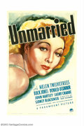 "Movie Posters:Drama, Unmarried (Paramount, 1939). One Sheet (27"" X 41""). Helen Twelvetrees stars in this romantic drama. The male leads were some..."